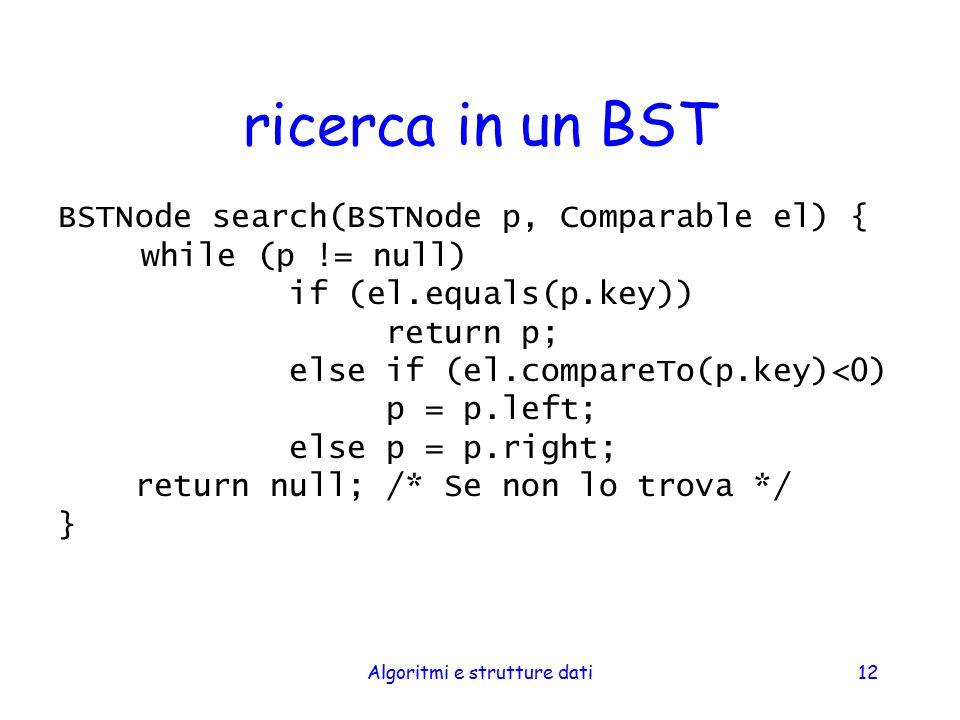 Algoritmi e strutture dati12 ricerca in un BST BSTNode search(BSTNode p, Comparable el) { while (p != null) if (el.equals(p.key)) return p; else if (e