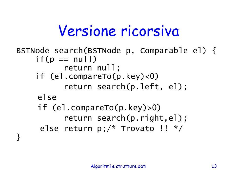 Algoritmi e strutture dati13 Versione ricorsiva BSTNode search(BSTNode p, Comparable el) { if(p == null) return null; if (el.compareTo(p.key)<0) retur
