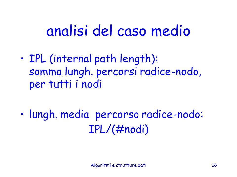 Algoritmi e strutture dati16 analisi del caso medio IPL (internal path length): somma lungh. percorsi radice-nodo, per tutti i nodi lungh. media perco