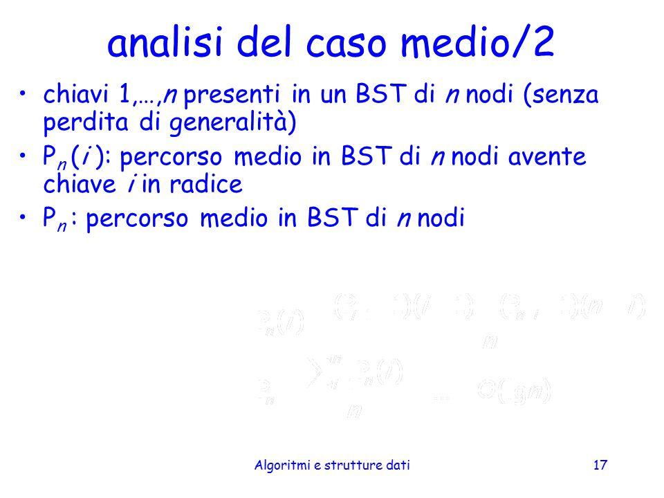 Algoritmi e strutture dati17 analisi del caso medio/2 chiavi 1,…,n presenti in un BST di n nodi (senza perdita di generalità) P n (i ): percorso medio
