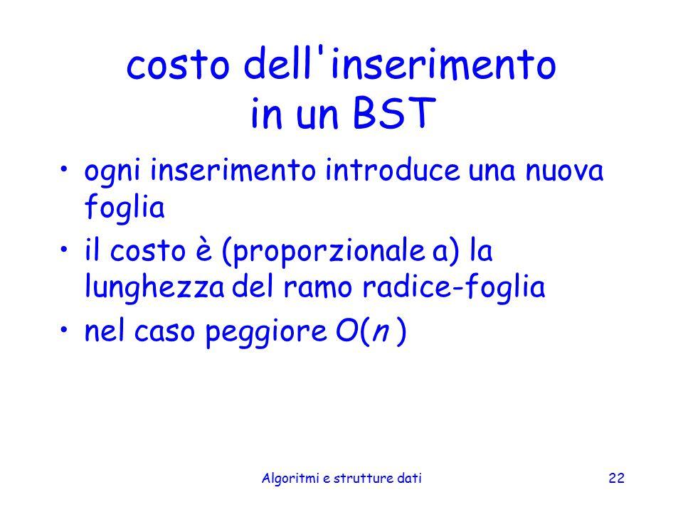 Algoritmi e strutture dati22 costo dell'inserimento in un BST ogni inserimento introduce una nuova foglia il costo è (proporzionale a) la lunghezza de