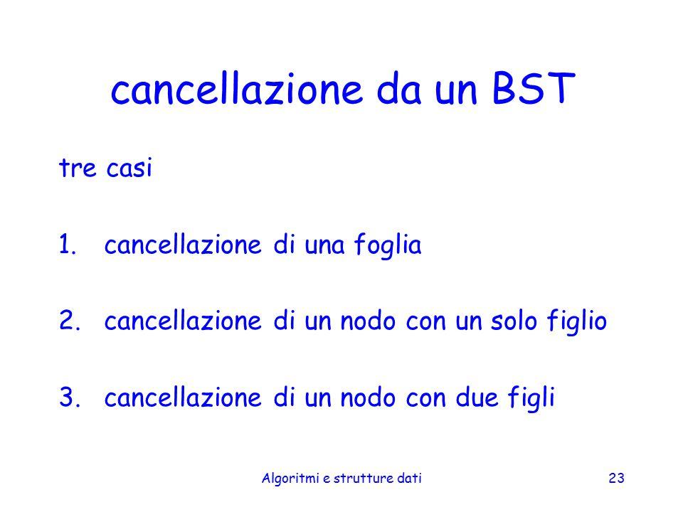 Algoritmi e strutture dati23 cancellazione da un BST tre casi 1.cancellazione di una foglia 2.cancellazione di un nodo con un solo figlio 3.cancellazi