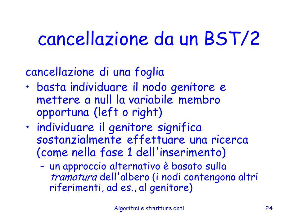Algoritmi e strutture dati24 cancellazione da un BST/2 cancellazione di una foglia basta individuare il nodo genitore e mettere a null la variabile me