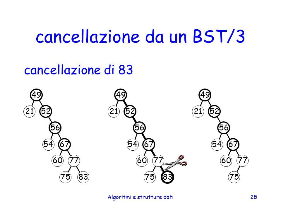 Algoritmi e strutture dati25 cancellazione da un BST/3 cancellazione di 83 49 52 56 67 77 83 54 75 21 60 49 52 56 67 83 54 75 21 60 49 52 56 67 77 54