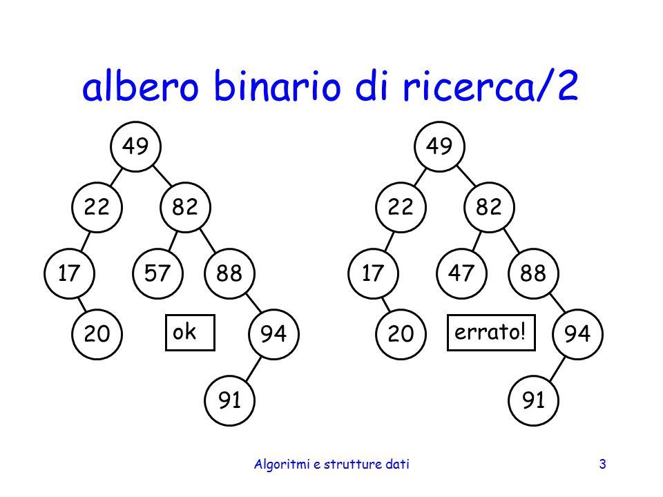 Algoritmi e strutture dati24 cancellazione da un BST/2 cancellazione di una foglia basta individuare il nodo genitore e mettere a null la variabile membro opportuna (left o right) individuare il genitore significa sostanzialmente effettuare una ricerca (come nella fase 1 dell inserimento) –un approccio alternativo è basato sulla tramatura dell albero (i nodi contengono altri riferimenti, ad es., al genitore)