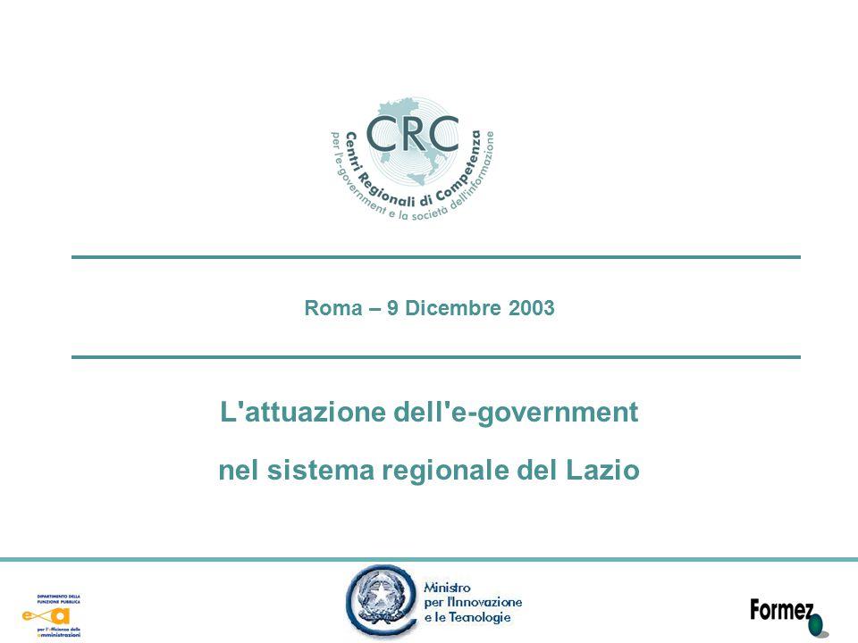 Roma – 9 Dicembre 2003 L attuazione dell e-government nel sistema regionale del Lazio