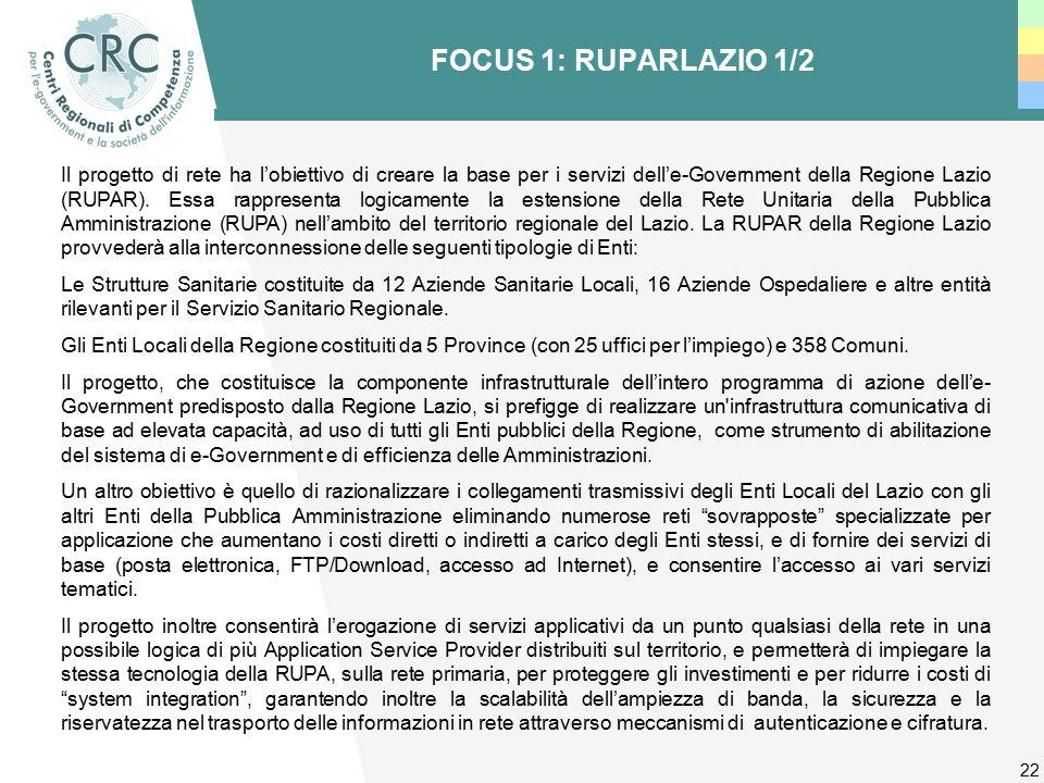 22 FOCUS 1: RUPARLAZIO 1/2 Il progetto di rete ha l'obiettivo di creare la base per i servizi dell'e-Government della Regione Lazio (RUPAR).