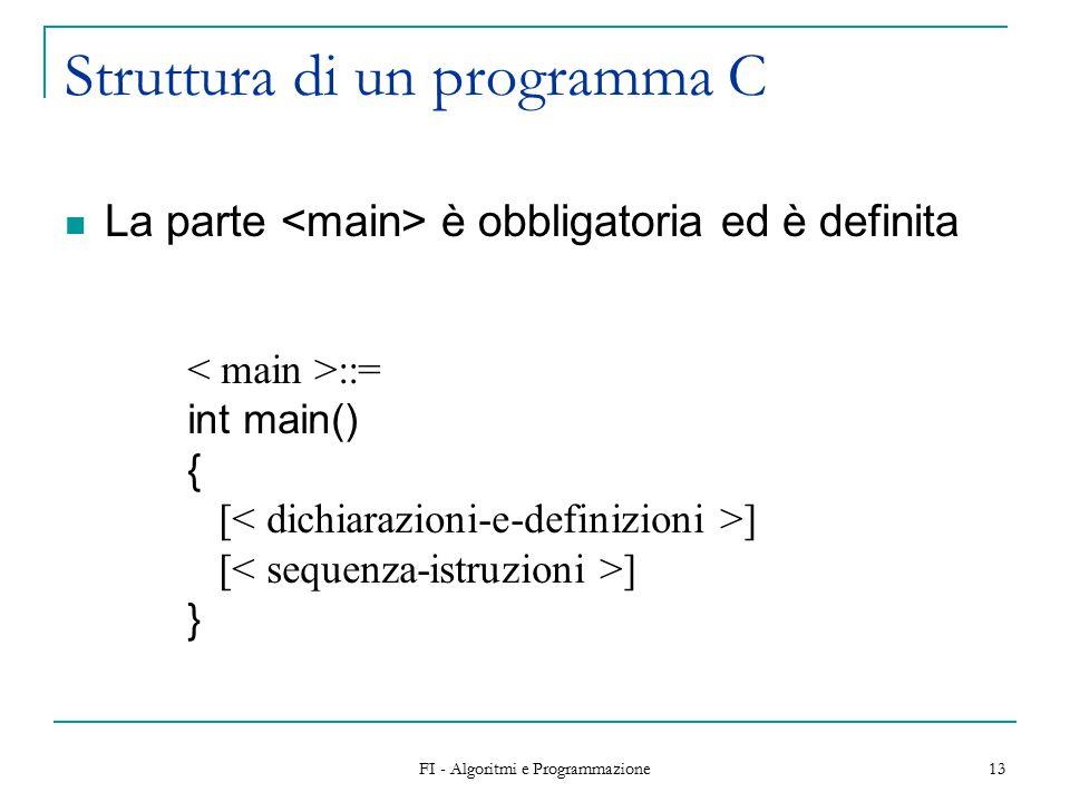 FI - Algoritmi e Programmazione 13 Struttura di un programma C La parte è obbligatoria ed è definita ::= int main() { [ ] }
