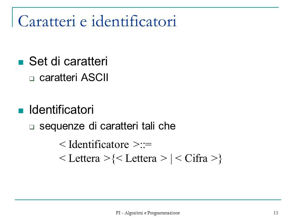 FI - Algoritmi e Programmazione 15 Caratteri e identificatori Set di caratteri  caratteri ASCII Identificatori  sequenze di caratteri tali che ::= { | }