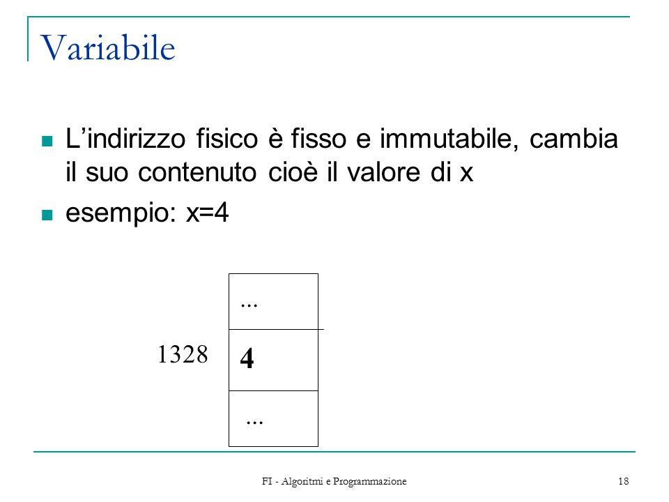 FI - Algoritmi e Programmazione 18 Variabile L'indirizzo fisico è fisso e immutabile, cambia il suo contenuto cioè il valore di x esempio: x=4...