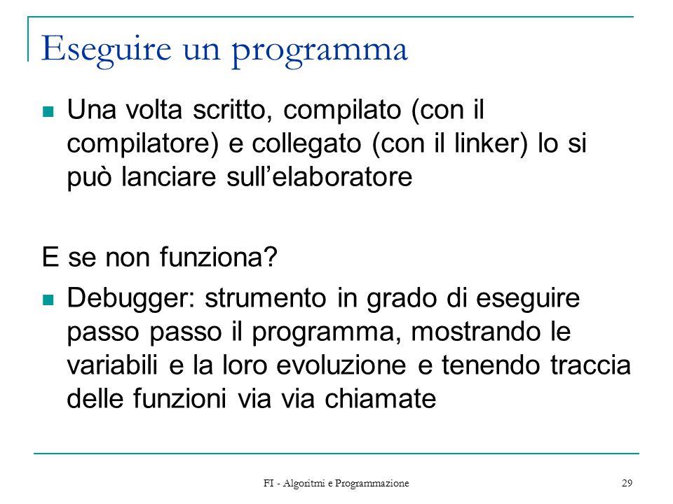 FI - Algoritmi e Programmazione 29 Eseguire un programma Una volta scritto, compilato (con il compilatore) e collegato (con il linker) lo si può lanciare sull'elaboratore E se non funziona.