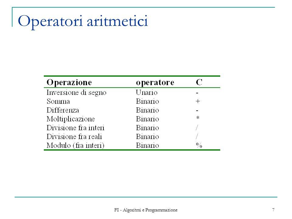 FI - Algoritmi e Programmazione 7 Operatori aritmetici