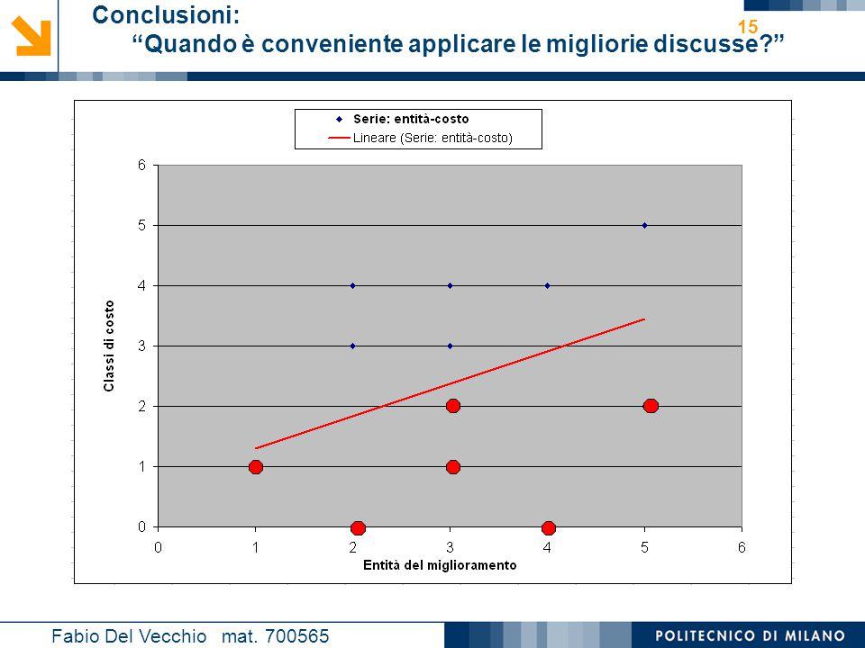 """Nome relatore 15 Conclusioni: """"Quando è conveniente applicare le migliorie discusse?"""" Fabio Del Vecchio mat. 700565"""