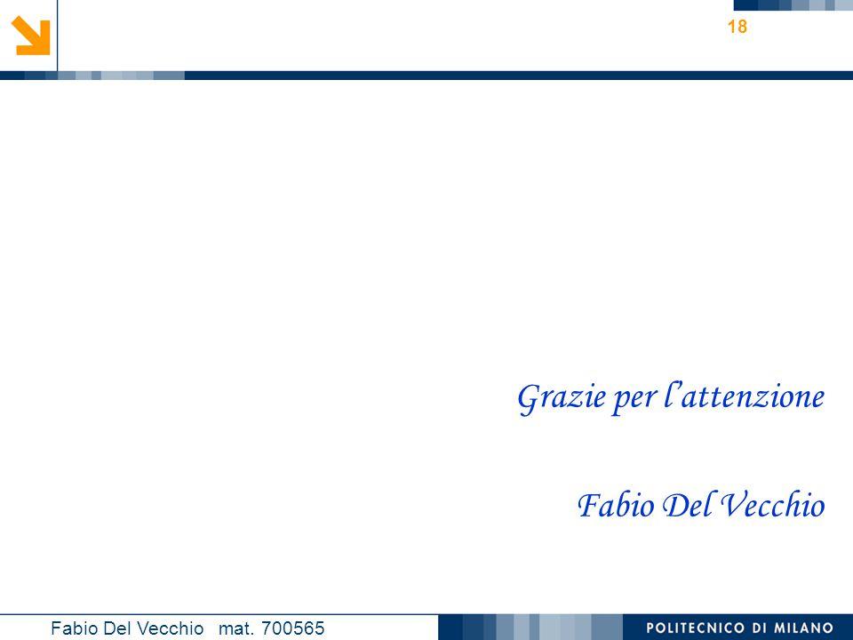 Nome relatore 18 Grazie per l'attenzione Fabio Del Vecchio Fabio Del Vecchio mat. 700565