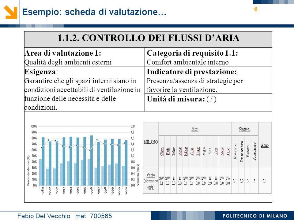 Nome relatore 6 Esempio: scheda di valutazione… Fabio Del Vecchio mat. 700565 1.1.2. CONTROLLO DEI FLUSSI D'ARIA Area di valutazione 1: Qualità degli