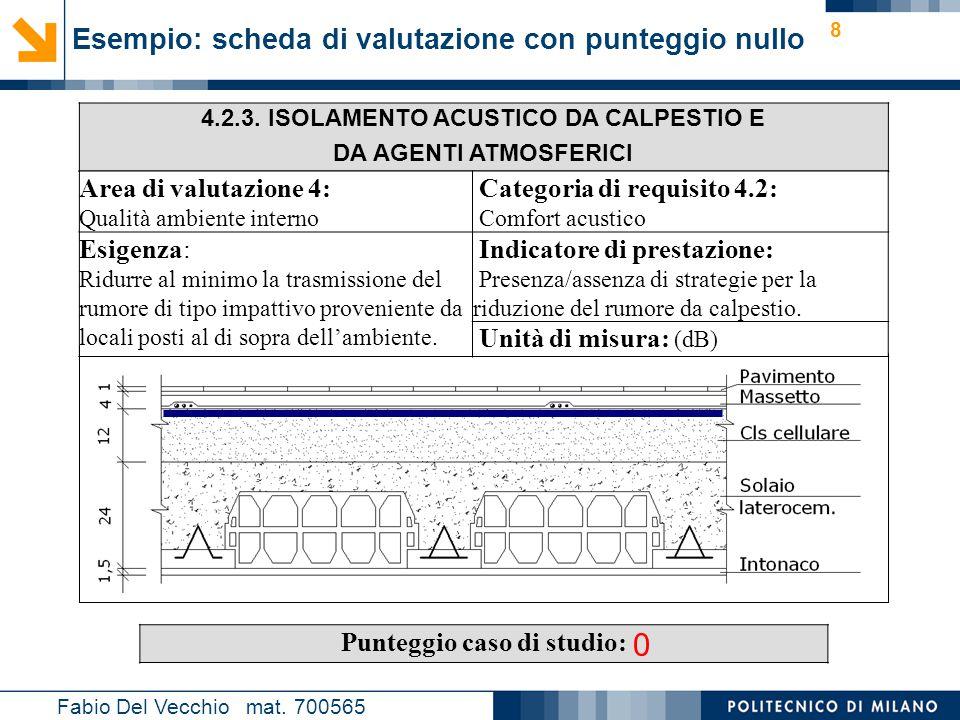 Nome relatore 8 Esempio: scheda di valutazione con punteggio nullo Fabio Del Vecchio mat. 700565 4.2.3. ISOLAMENTO ACUSTICO DA CALPESTIO E DA AGENTI A