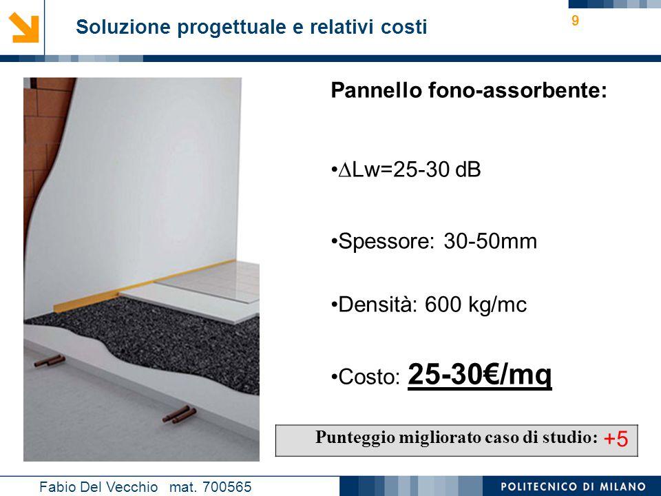 Nome relatore 9 Soluzione progettuale e relativi costi Fabio Del Vecchio mat. 700565 Punteggio migliorato caso di studio: +5 Pannello fono-assorbente: