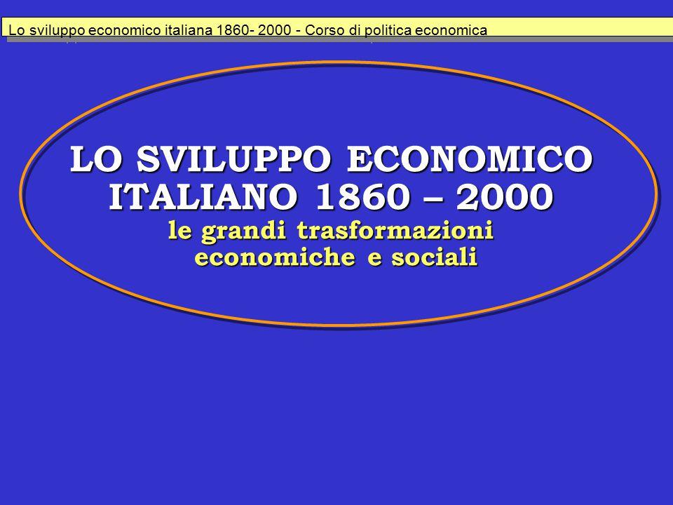 LO SVILUPPO ECONOMICO ITALIANO 1860 – 2000 le grandi trasformazioni economiche e sociali Lo sviluppo economico italiana 1860- 2000 - Corso di politica economica