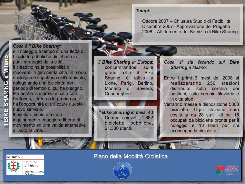 Il BIKE SHARING a Milano Piano della Mobilità Ciclistica
