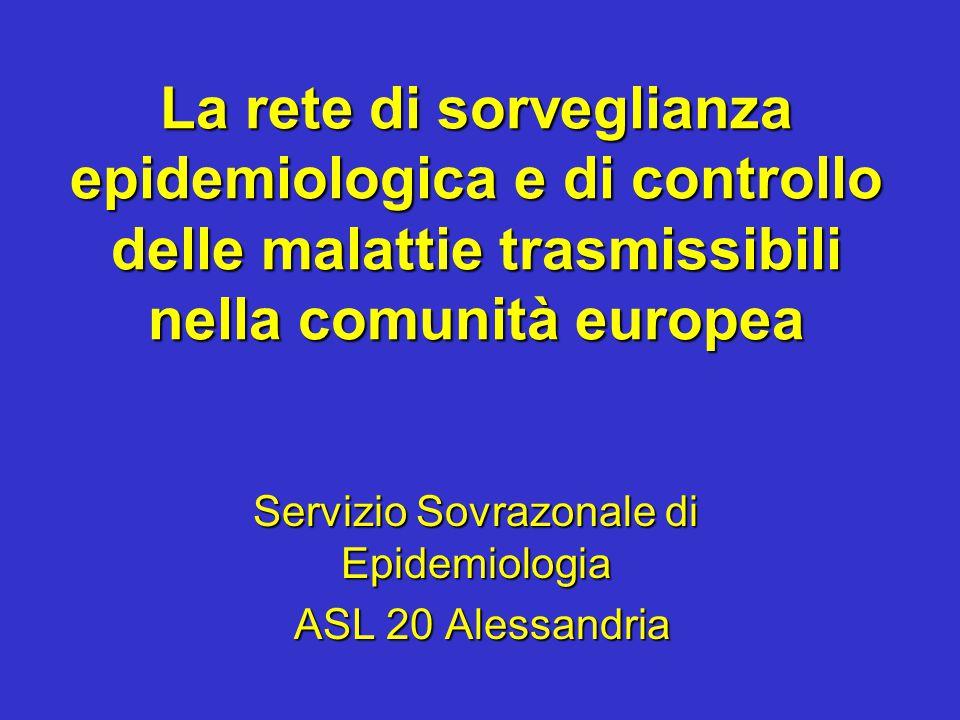 La rete di sorveglianza epidemiologica e di controllo delle malattie trasmissibili nella comunità europea Servizio Sovrazonale di Epidemiologia ASL 20