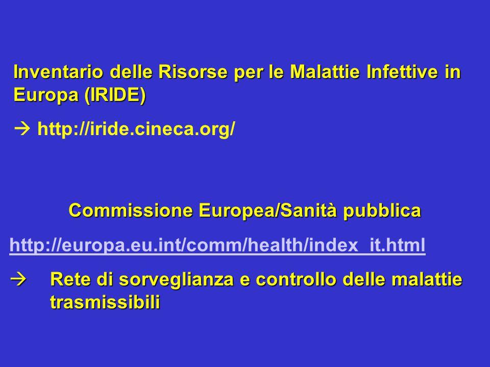 Commissione Europea/Sanità pubblica http://europa.eu.int/comm/health/index_it.html  Rete di sorveglianza e controllo delle malattie trasmissibili Inv