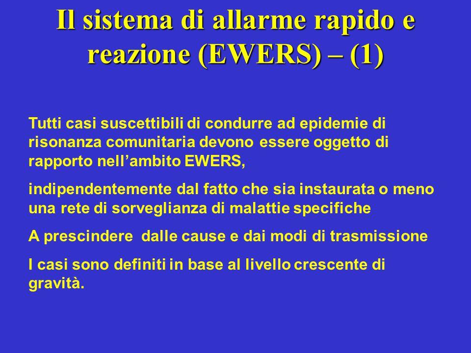 Il sistema di allarme rapido e reazione (EWERS) – (1) Tutti casi suscettibili di condurre ad epidemie di risonanza comunitaria devono essere oggetto d