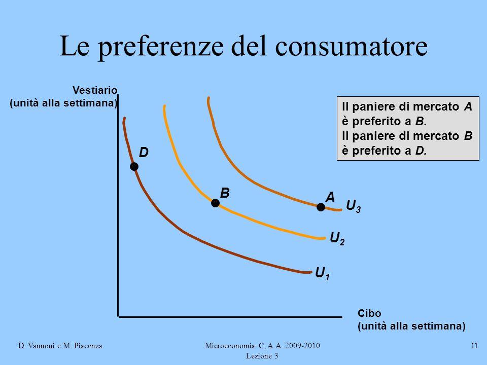 D. Vannoni e M. PiacenzaMicroeconomia C, A.A. 2009-2010 Lezione 3 11 U2U2 U3U3 U1U1 A B D Il paniere di mercato A è preferito a B. Il paniere di merca
