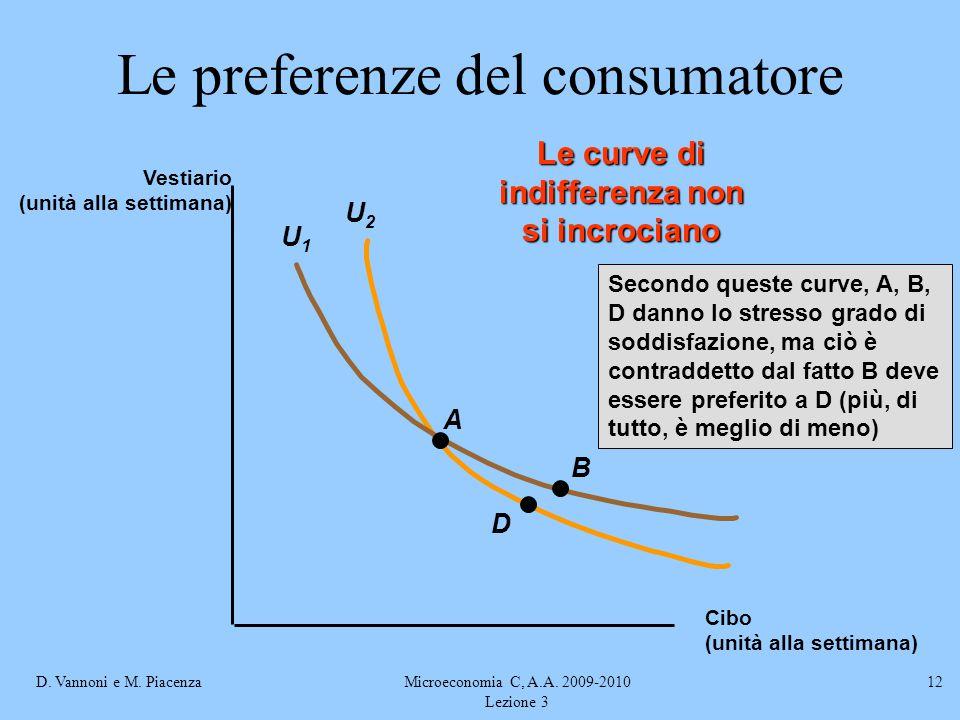 D. Vannoni e M. PiacenzaMicroeconomia C, A.A. 2009-2010 Lezione 3 12 U2U2 U1U1 A D B Secondo queste curve, A, B, D danno lo stresso grado di soddisfaz