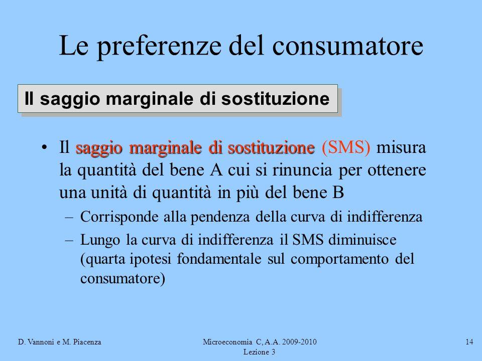 D. Vannoni e M. PiacenzaMicroeconomia C, A.A. 2009-2010 Lezione 3 14 saggio marginale di sostituzioneIl saggio marginale di sostituzione (SMS) misura