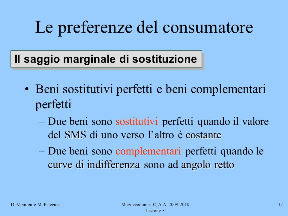 D. Vannoni e M. PiacenzaMicroeconomia C, A.A. 2009-2010 Lezione 3 17 Beni sostitutivi perfetti e beni complementari perfetti SMScostante –Due beni son