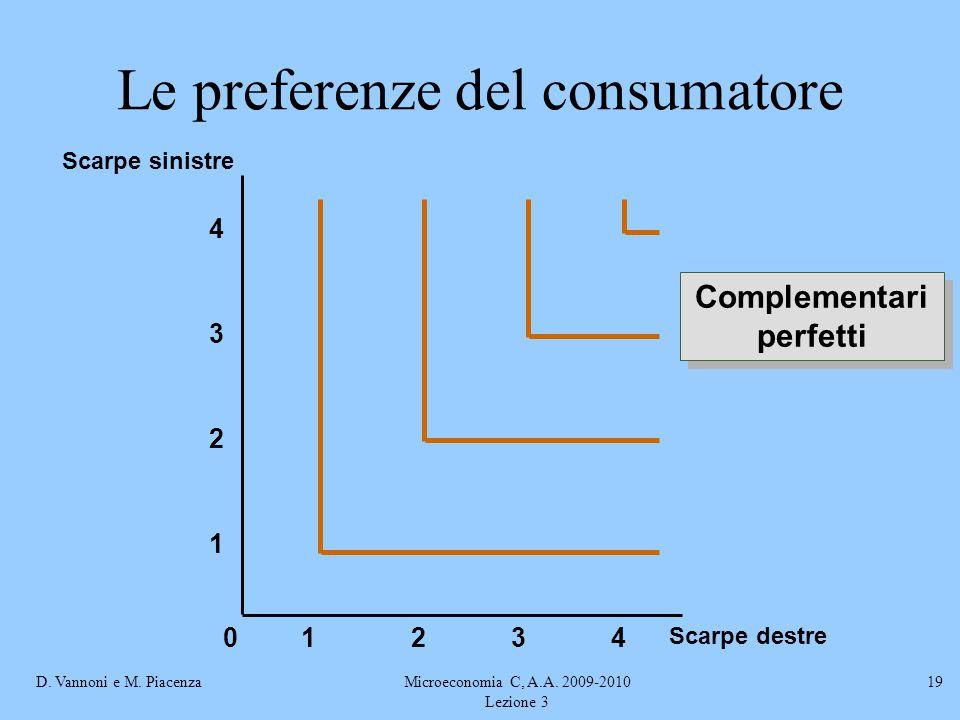 D. Vannoni e M. PiacenzaMicroeconomia C, A.A. 2009-2010 Lezione 3 19 Scarpe destre Scarpe sinistre 2341 1 2 3 4 0 Complementari perfetti Le preferenze