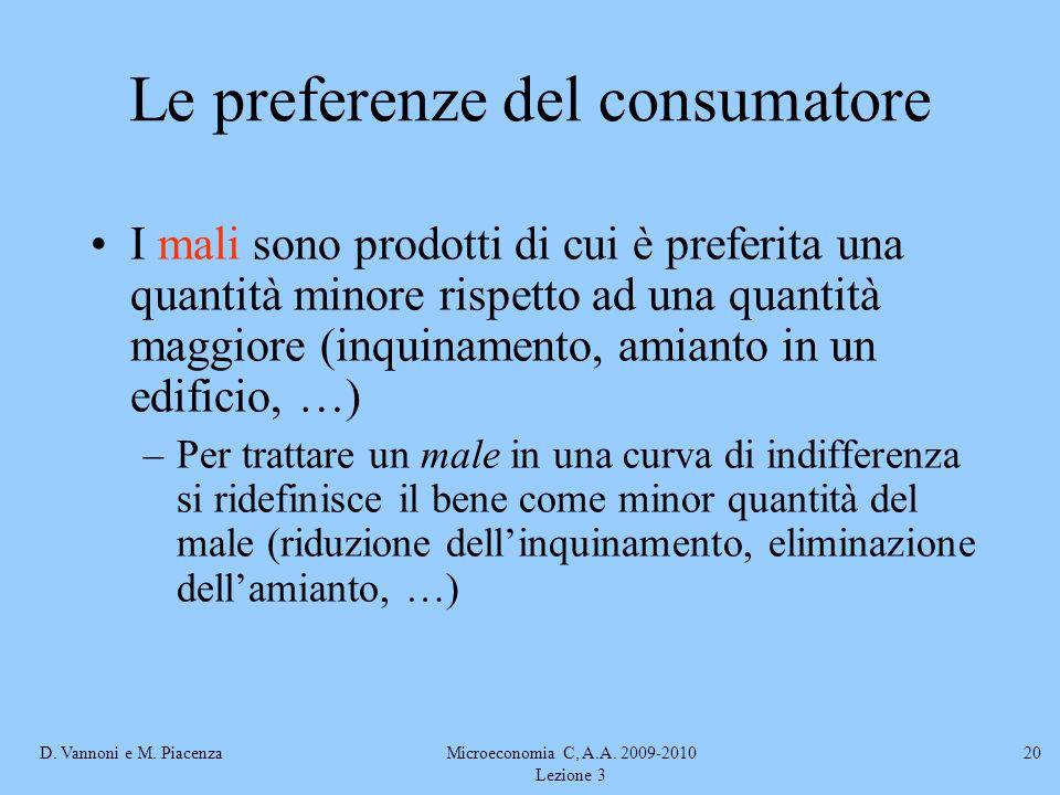 D. Vannoni e M. PiacenzaMicroeconomia C, A.A. 2009-2010 Lezione 3 20 I mali sono prodotti di cui è preferita una quantità minore rispetto ad una quant