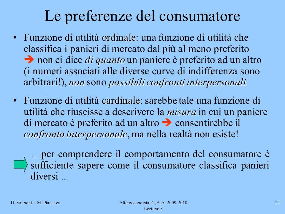 D. Vannoni e M. PiacenzaMicroeconomia C, A.A. 2009-2010 Lezione 3 24 ordinale di quanto non possibili confronti interpersonaliFunzione di utilità ordi