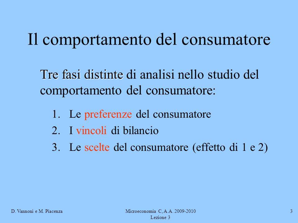D. Vannoni e M. PiacenzaMicroeconomia C, A.A. 2009-2010 Lezione 3 3 Il comportamento del consumatore Tre fasi distinte Tre fasi distinte di analisi ne