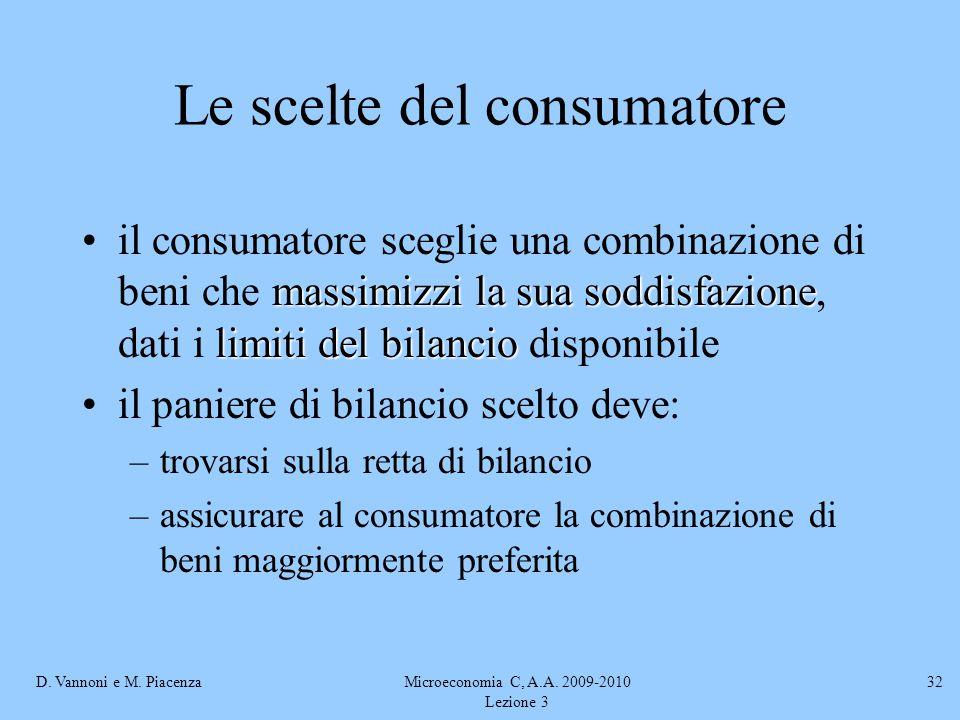 D. Vannoni e M. PiacenzaMicroeconomia C, A.A. 2009-2010 Lezione 3 32 Le scelte del consumatore massimizzi la sua soddisfazione limiti del bilancioil c