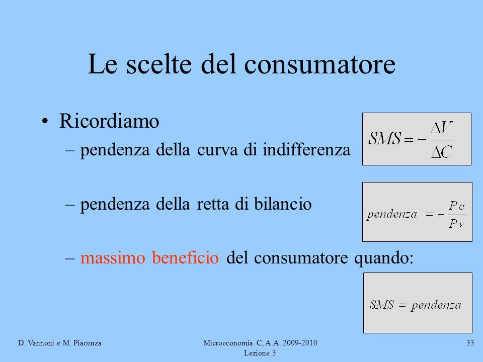 D. Vannoni e M. PiacenzaMicroeconomia C, A.A. 2009-2010 Lezione 3 33 Le scelte del consumatore Ricordiamo –pendenza della curva di indifferenza –pende