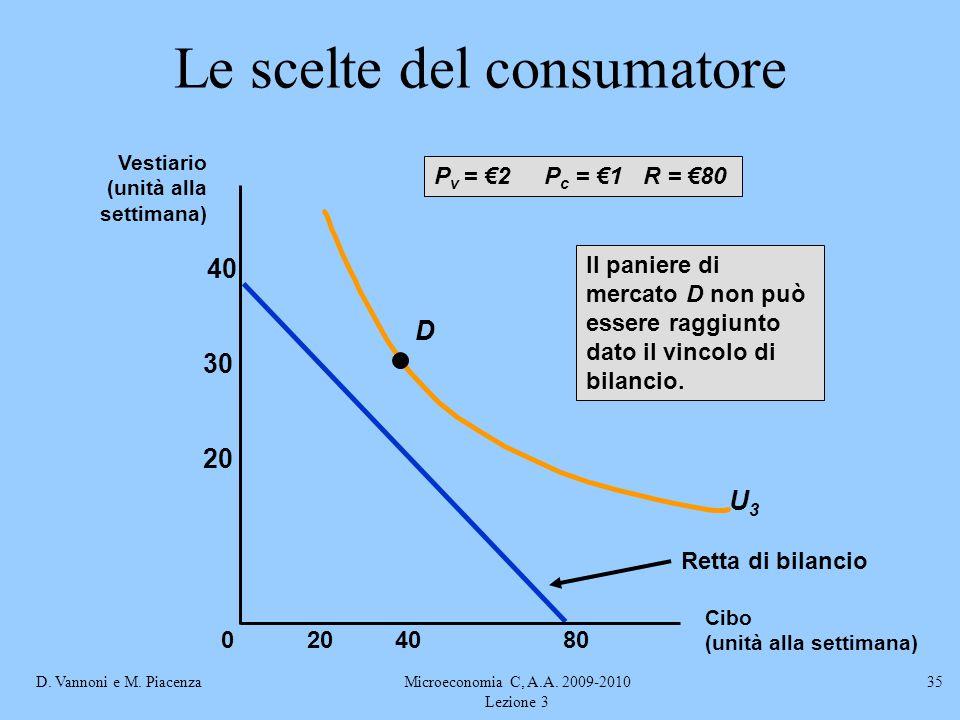D. Vannoni e M. PiacenzaMicroeconomia C, A.A. 2009-2010 Lezione 3 35 Le scelte del consumatore Retta di bilancio U3U3 D Il paniere di mercato D non pu