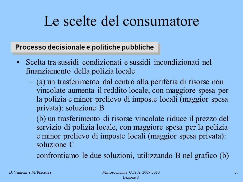 D. Vannoni e M. PiacenzaMicroeconomia C, A.A. 2009-2010 Lezione 3 37 Le scelte del consumatore Scelta tra sussidi condizionati e sussidi incondizionat