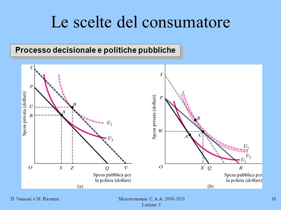 D. Vannoni e M. PiacenzaMicroeconomia C, A.A. 2009-2010 Lezione 3 38 Le scelte del consumatore Processo decisionale e politiche pubbliche