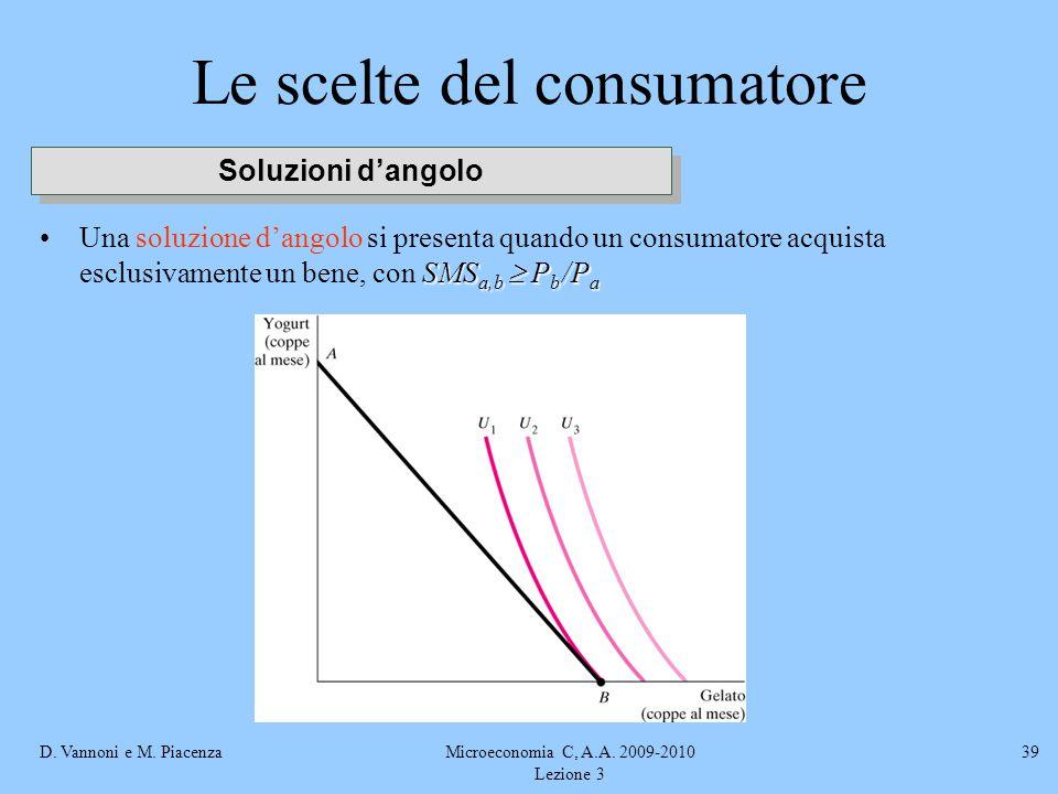 D. Vannoni e M. PiacenzaMicroeconomia C, A.A. 2009-2010 Lezione 3 39 Le scelte del consumatore SMS a,b  P b /P aUna soluzione d'angolo si presenta qu