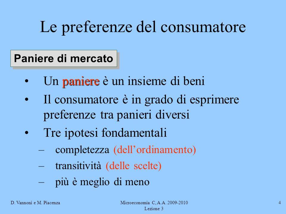D. Vannoni e M. PiacenzaMicroeconomia C, A.A. 2009-2010 Lezione 3 4 Le preferenze del consumatore paniereUn paniere è un insieme di beni Il consumator