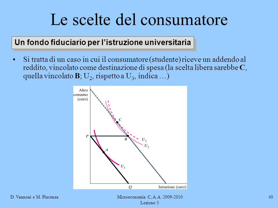 D. Vannoni e M. PiacenzaMicroeconomia C, A.A. 2009-2010 Lezione 3 40 Le scelte del consumatore Si tratta di un caso in cui il consumatore (studente) r