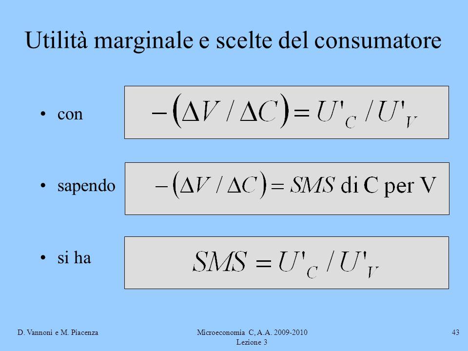 D. Vannoni e M. PiacenzaMicroeconomia C, A.A. 2009-2010 Lezione 3 43 con sapendo si ha Utilità marginale e scelte del consumatore