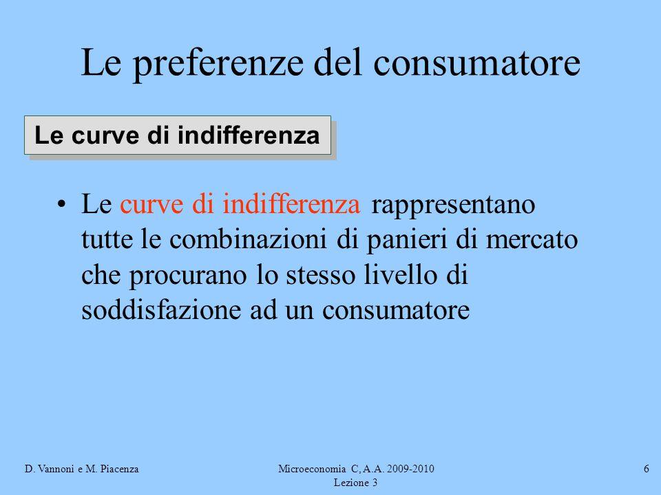 D. Vannoni e M. PiacenzaMicroeconomia C, A.A. 2009-2010 Lezione 3 6 Le curve di indifferenza rappresentano tutte le combinazioni di panieri di mercato