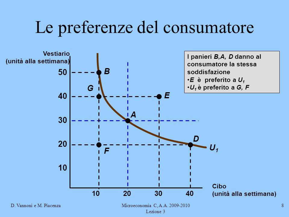 D. Vannoni e M. PiacenzaMicroeconomia C, A.A. 2009-2010 Lezione 3 8 U1U1 I panieri B,A, D danno al consumatore la stessa soddisfazione E è preferito a