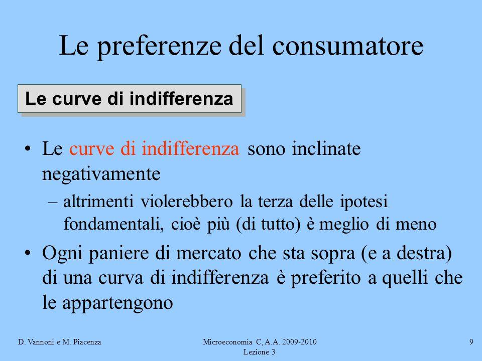 D. Vannoni e M. PiacenzaMicroeconomia C, A.A. 2009-2010 Lezione 3 9 Le curve di indifferenza sono inclinate negativamente –altrimenti violerebbero la