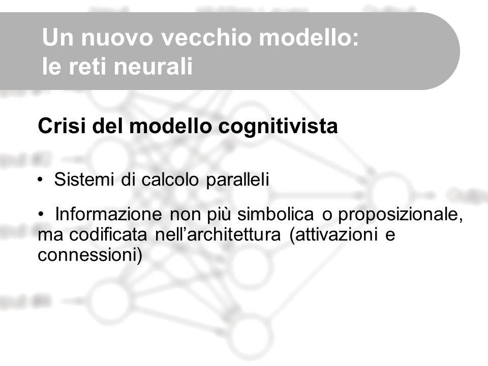 Un nuovo vecchio modello: le reti neurali Crisi del modello cognitivista Sistemi di calcolo paralleli Informazione non più simbolica o proposizionale,
