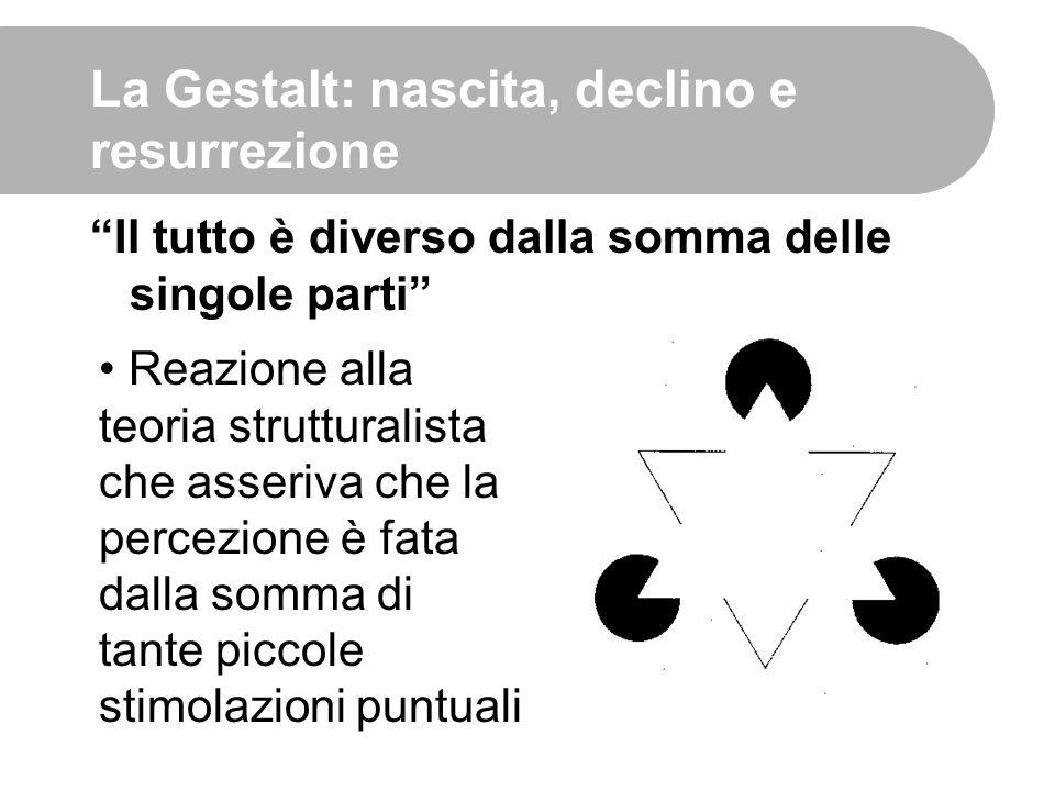 """La Gestalt: nascita, declino e resurrezione """"Il tutto è diverso dalla somma delle singole parti"""" Reazione alla teoria strutturalista che asseriva che"""