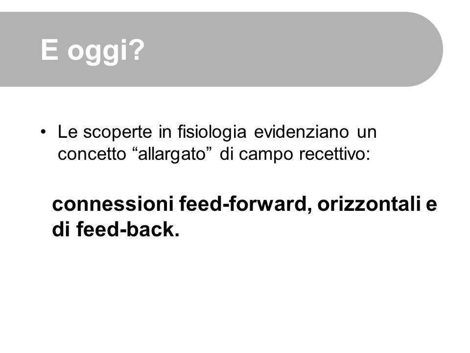 """E oggi? Le scoperte in fisiologia evidenziano un concetto """"allargato"""" di campo recettivo: connessioni feed-forward, orizzontali e di feed-back."""