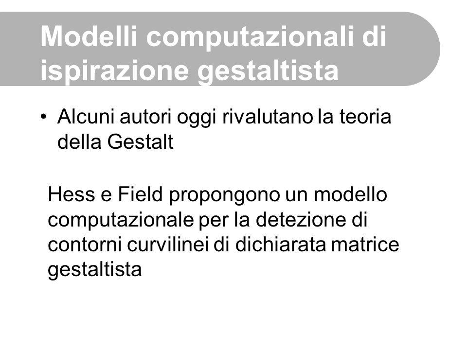 Modelli computazionali di ispirazione gestaltista Alcuni autori oggi rivalutano la teoria della Gestalt Hess e Field propongono un modello computazion